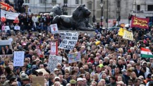 Protesters at Trafalgar Square