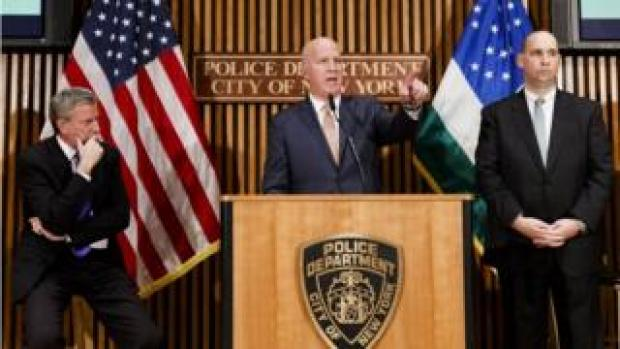 "New York Police Commissioner James O""Neill, New York Mayor Bill de Blasio and FBI Assistant Director William Sweeney brief reporters"
