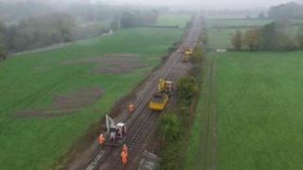 Repair work to the Abergavenny to Hereford railway line