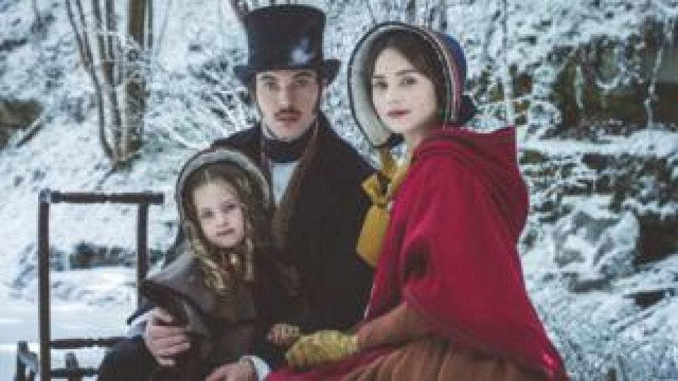 Tom Hughes, Jenna Coleman and child in the Victoria Christmas special