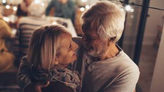 Elderly couple celebrate anniversary