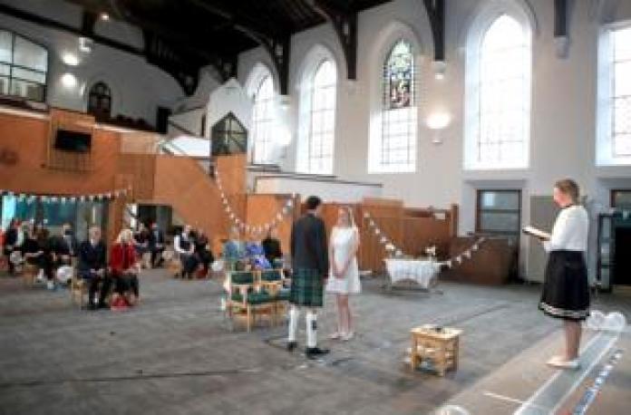 A wedding in a parish hall