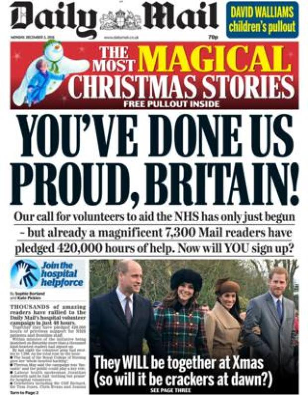 Daily Mail front page, 3/12/18