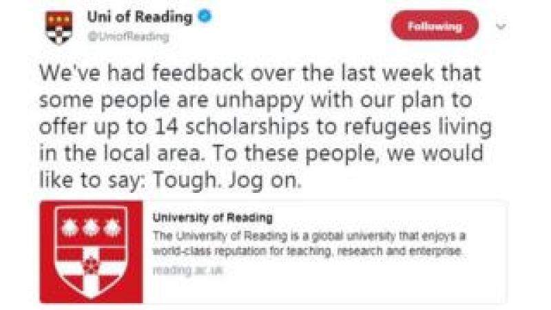 Tweet from Univeristy