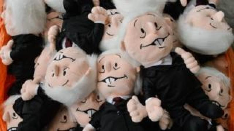 Picture of dolls representing Mexican leftist presidential candidate Andres Manuel Lopez Obrador, taken at a stuffed animal factory in Xonacatlan, Mexico State, Mexico, on June 19, 2018.
