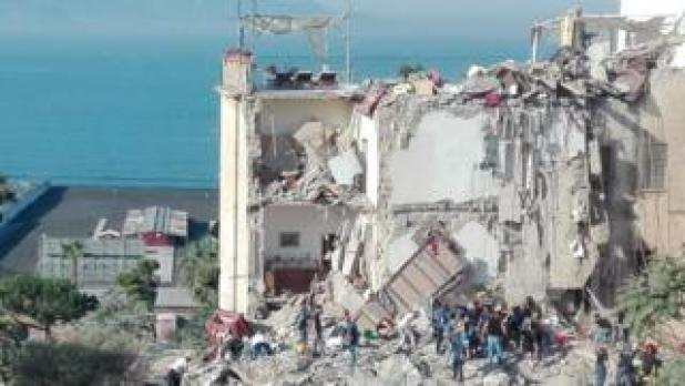 Rubble of collapsed building in Naples, 7 Jul 17