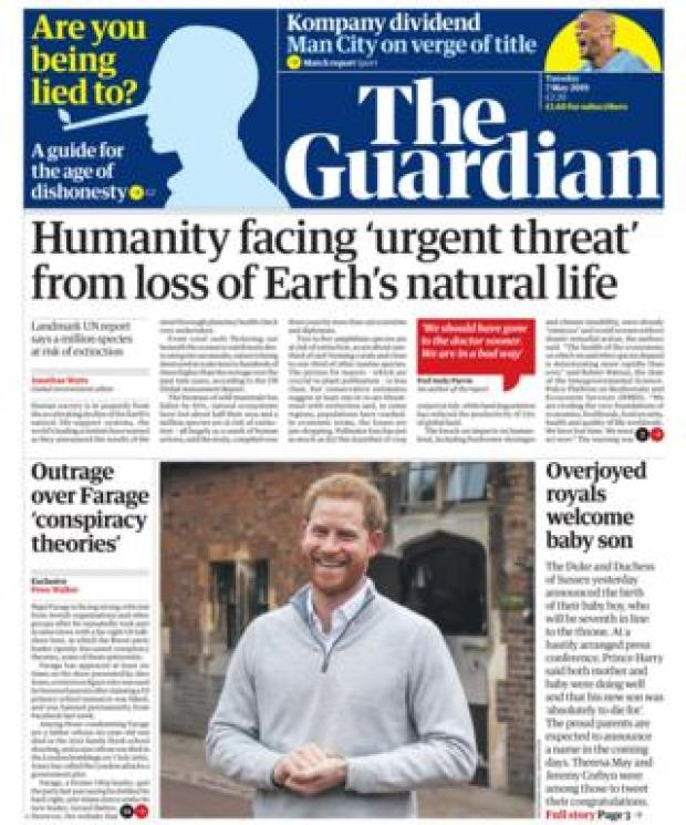 The Guardian front page 07/05/19