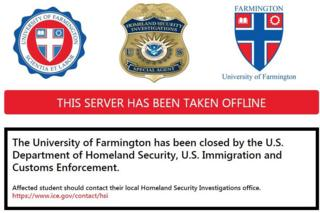 Closed web page for fake university in Michigan