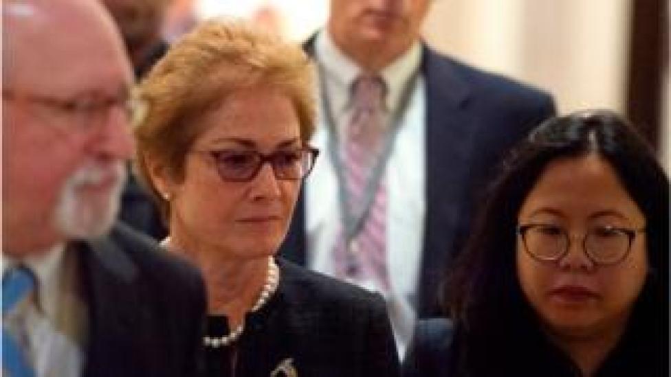 trump Former US Ambassador to Ukraine Marie Yovanovitch (C) arrives for a closed-doors deposition