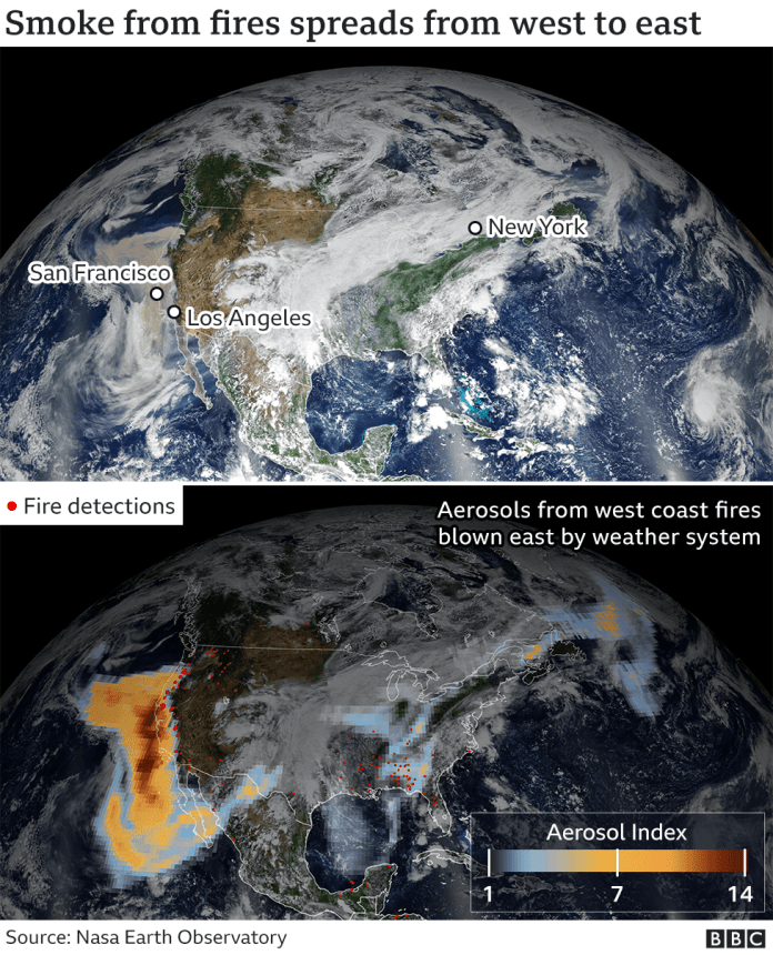 NASA satellite image showing plumes of smoke crossing the United States