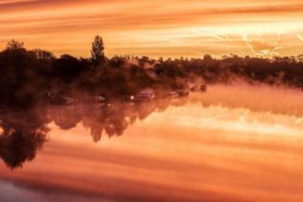 Dawn over the River Trent at Gunthorpe, Nottingham