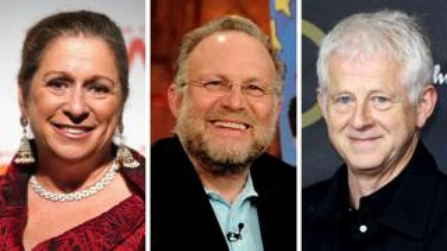 Abigail Disney (à gauche), Jerry Greenfield et Richard Curtis
