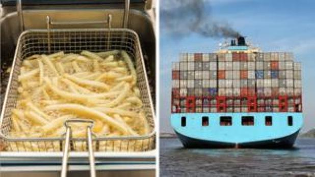 Composite of chips in a fryer and a cargo ship emitting smoke