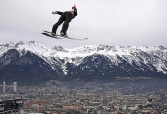Daniel Andre Tande of Norway performs a practice ski jump