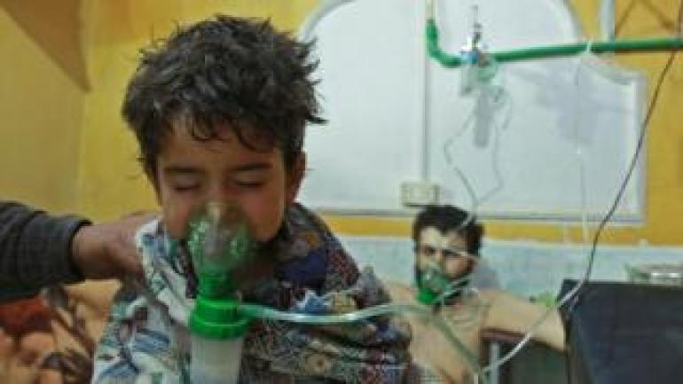 Syrian children and adults in hospital