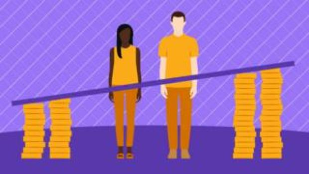 Illustration showing a man and a woman and the difference between their salaries