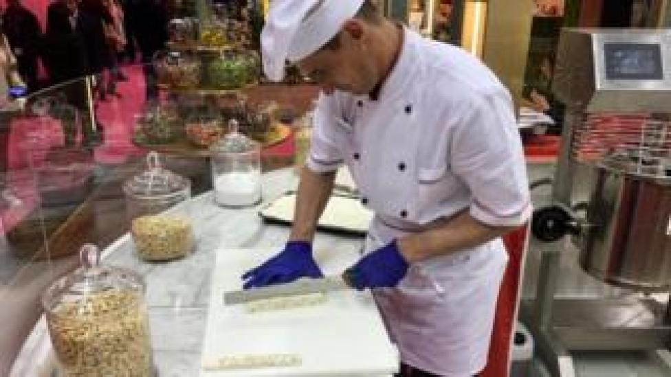 man making nougat
