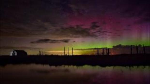 Northern Lights over Thornham in Norfolk