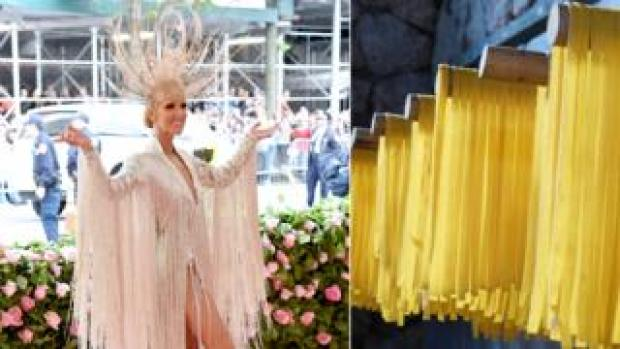 Celine Dion and pasta drying on a rack