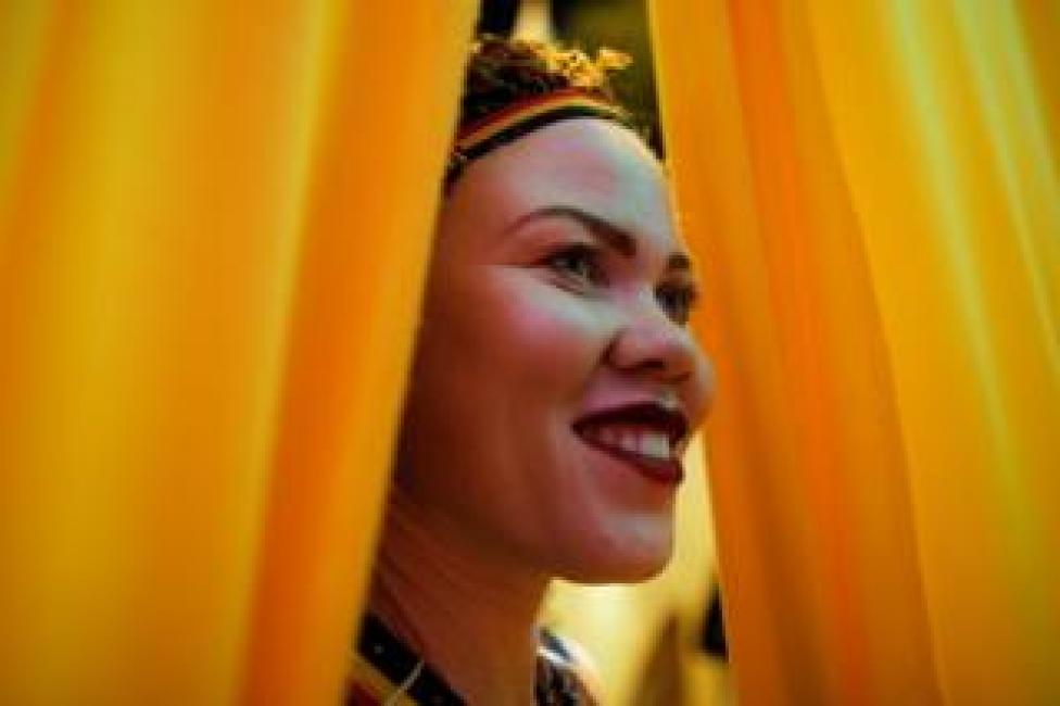 A participant backstage