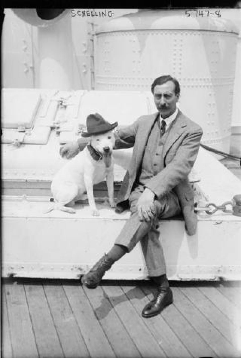 Ernest Schelling US pianist, composer & conductor at on board dog show