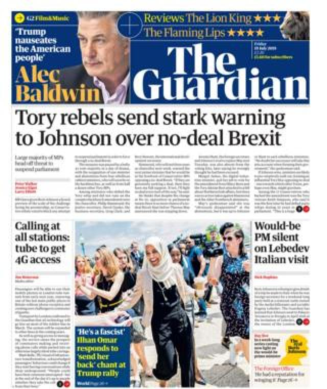 Front page of the Guardian