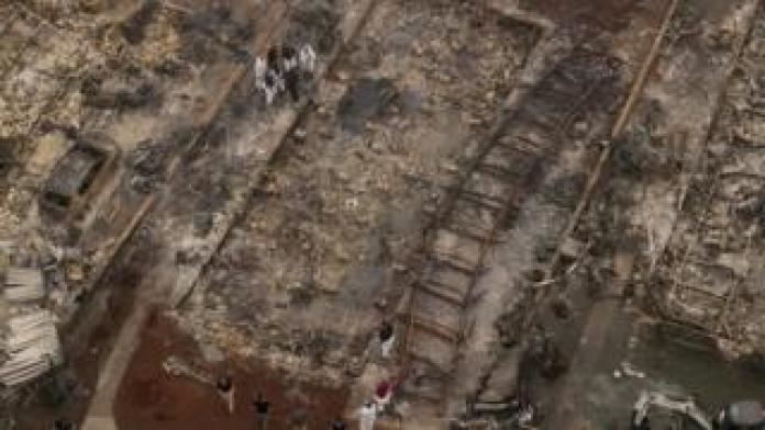 Aerial view of neighbourhood devastated by the Almeda fire