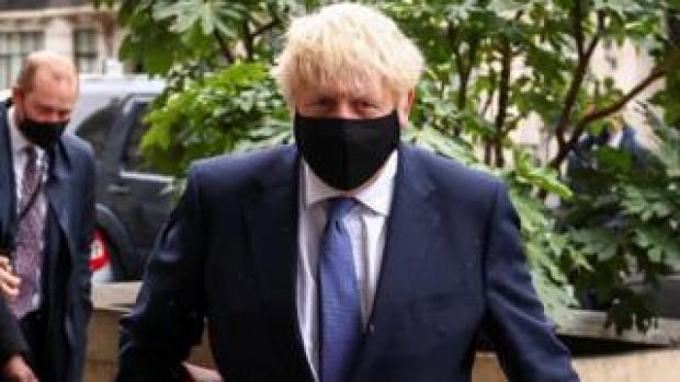 Boris Johnson outside BBC Broadcasting House on 20 October 2020