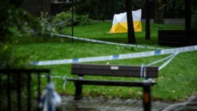 A police tent on Grimsel Path on the Brandon Estate