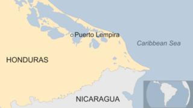 Map showing the eastern Honduran coast