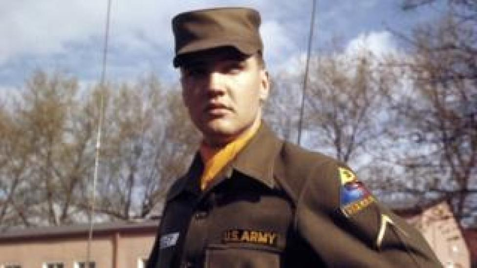 trump US Army Private First Class Elvis Presley at Grafenwoehr Training Grounds, Bavaria in 1958