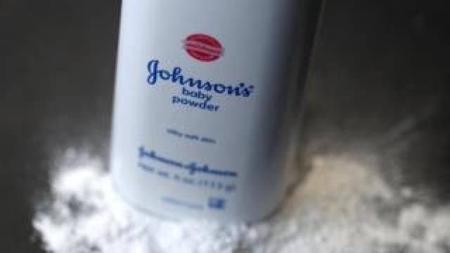 : In this photo illustration, a container of Johnson's baby powder made by Johnson and Johnson sits on a table on July 13, 2018 in San Francisco, California.