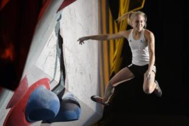 Janja Garnbret of Slovenia competes in the bouldering