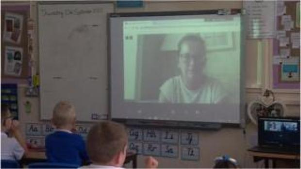 Mary Craghill and class by video-link
