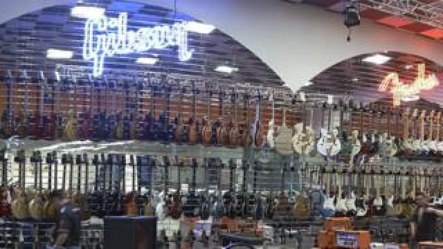 Guitars at the Gear4music showroom in York