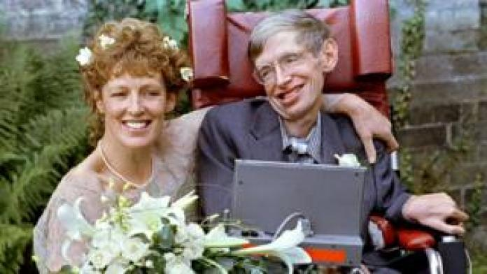 Stephen Hawking and his new bride Elaine Mason pose for pictures after the blessing of their wedding at St. Barnabus Church September 16, 1995