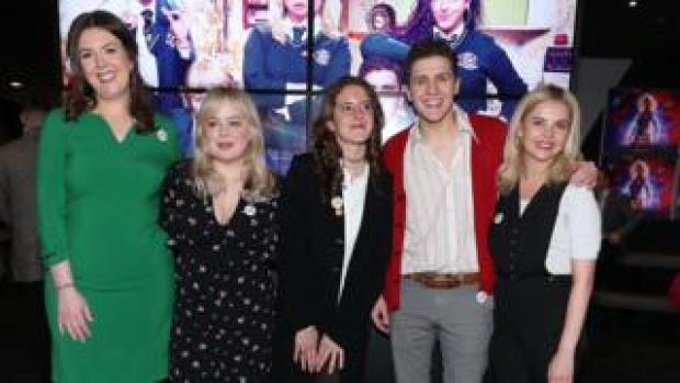 Derry Girls writer Lisa McGee with cast members Nicola Coughlan , Louisa Harland, Dylan Llewellyn and Saoirse-Monica Jackson at the Omniplex Cinema in Londonderry for the series two premiere