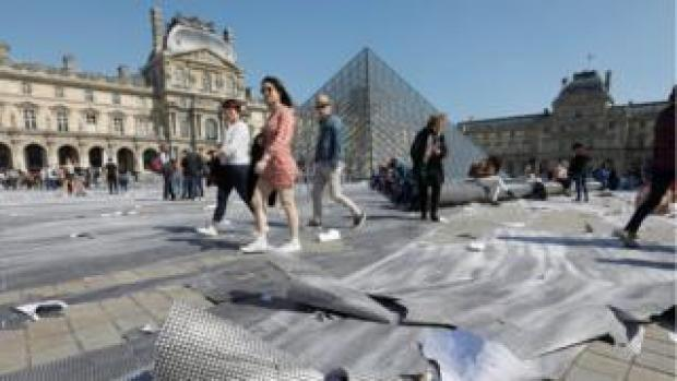 Visitors at the Louvre