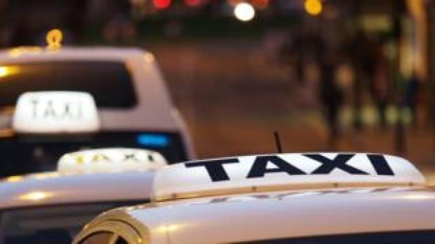 Taxi queue at night