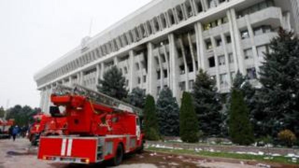 Fire engine outside parliament building in Bishkek on 6 October 2020