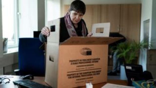 Claire Fox packing up her Brussels office