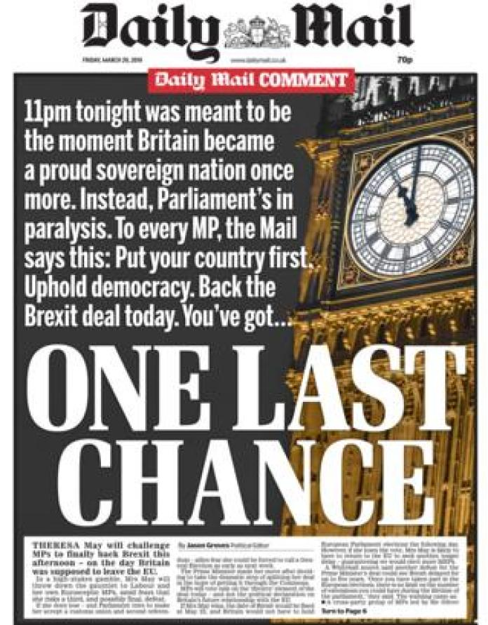 Daily Mail front page, 29/3/19