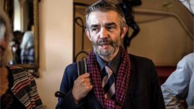 French journalist Philippe Lancon in Paris, after winning the 2018 Prix Femina literary prize for his novel Le Lambeau, 5 November