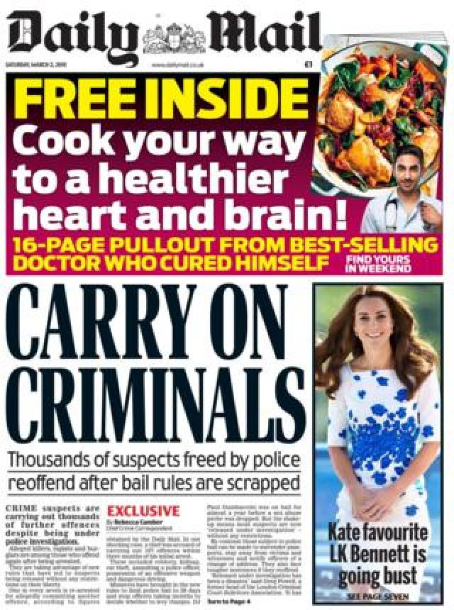 Daily Mail front page 02/03/19
