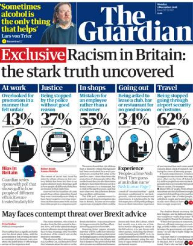 Guardian front page, 3/12/18