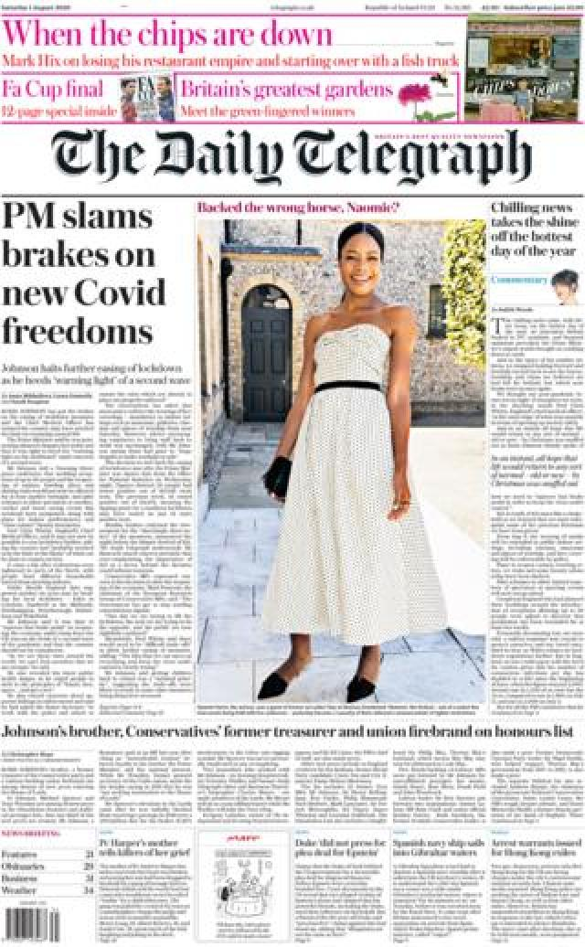 The Daily Telegraph front page 1 August