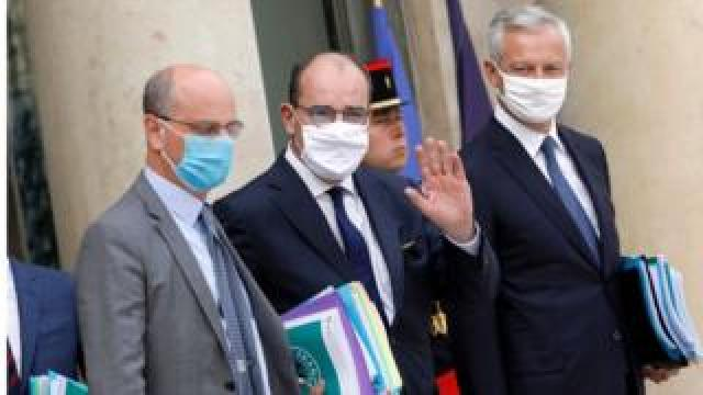 french prime minister, economy minister and education and youth minister leave meeting where stimulus plan was discussed. sept 3 2020
