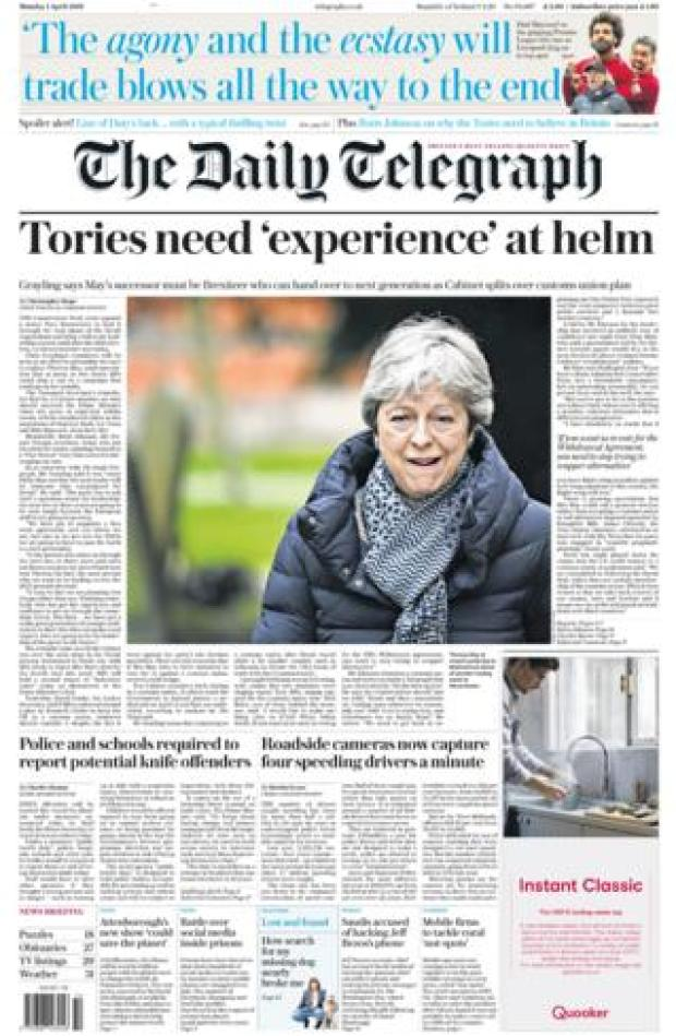 Monday's Daily Telegraph front page