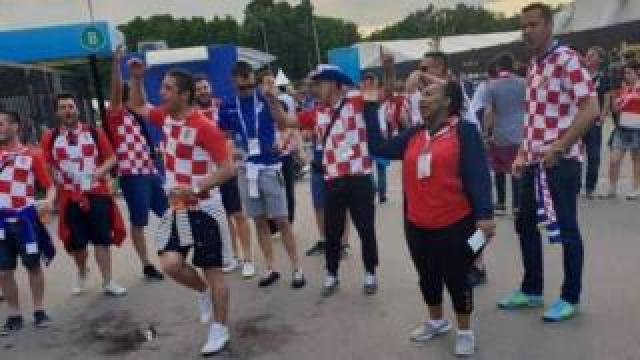 Millicent Omanga with Croatia fans