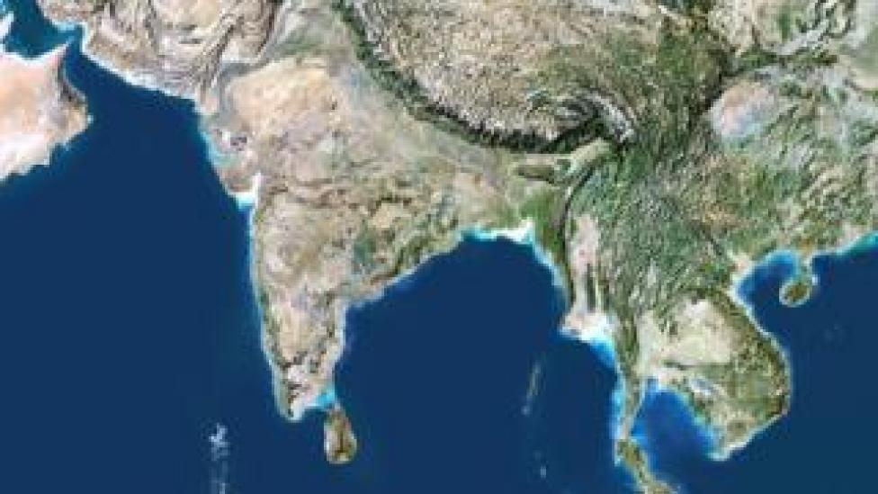 Satellite photo of India, taken in 2007.